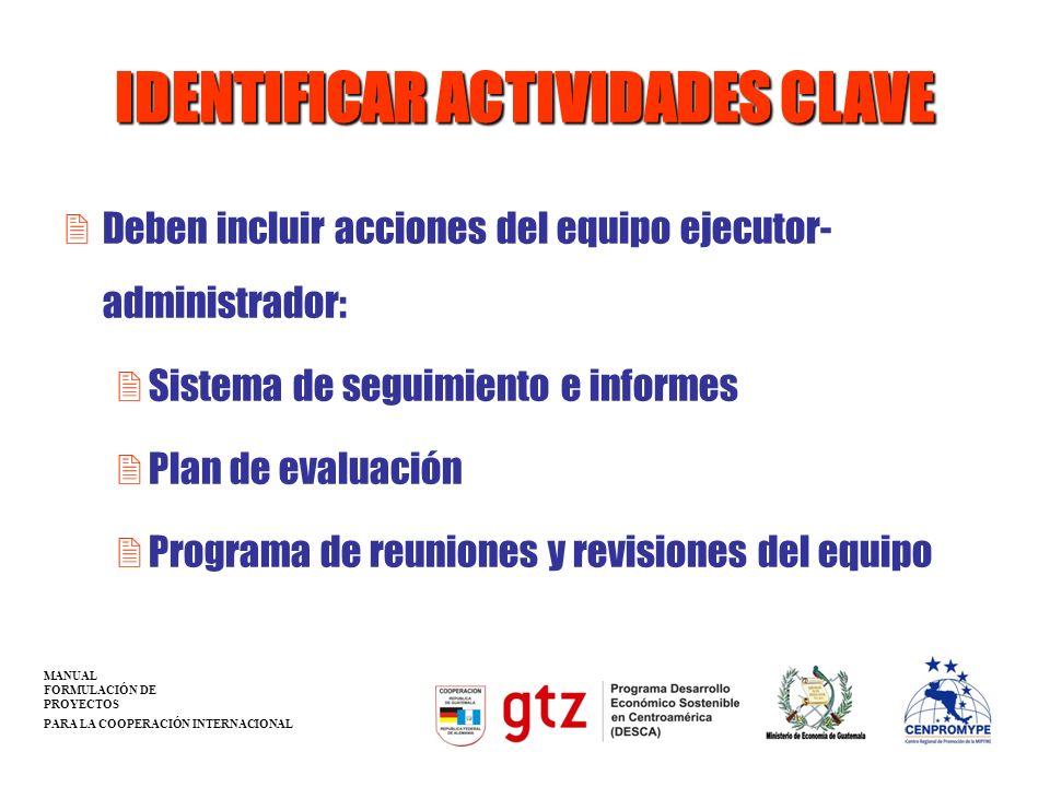 IDENTIFICAR ACTIVIDADES CLAVE 2Deben incluir acciones del equipo ejecutor- administrador: 2Sistema de seguimiento e informes 2Plan de evaluación 2Prog