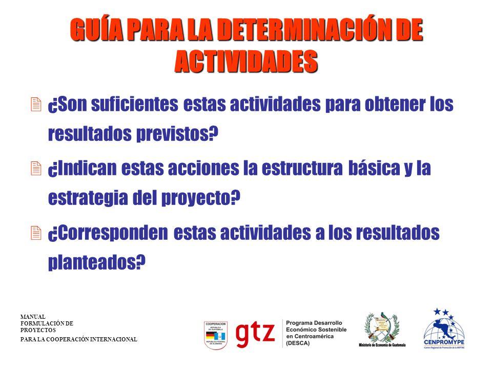 GUÍA PARA LA DETERMINACIÓN DE ACTIVIDADES 2¿Son suficientes estas actividades para obtener los resultados previstos? 2¿Indican estas acciones la estru