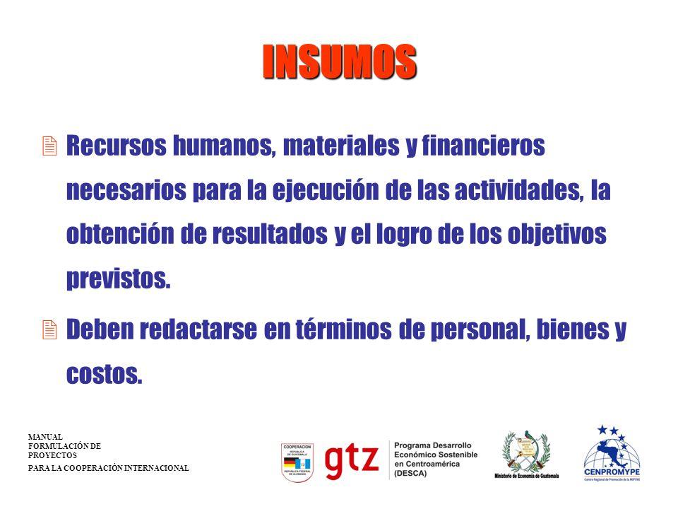 INSUMOS 2Recursos humanos, materiales y financieros necesarios para la ejecución de las actividades, la obtención de resultados y el logro de los obje