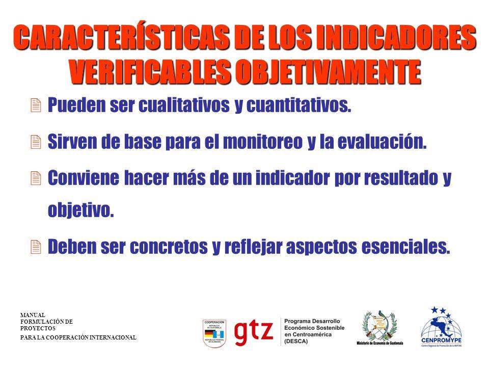 CARACTERÍSTICAS DE LOS INDICADORES VERIFICABLES OBJETIVAMENTE 2Pueden ser cualitativos y cuantitativos. 2Sirven de base para el monitoreo y la evaluac
