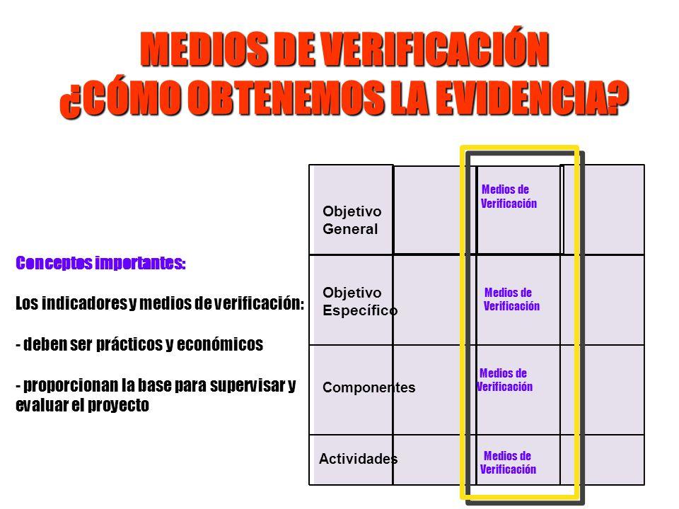 MEDIOS DE VERIFICACIÓN ¿CÓMO OBTENEMOS LA EVIDENCIA? Objetivo General Componentes Actividades Medios de Verificación Conceptos importantes: Los indica