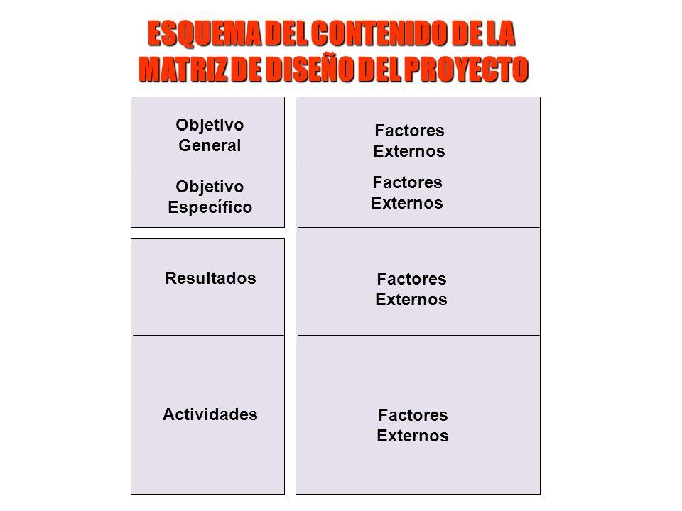 Objetivo General Objetivo Específico Resultados Actividades Factores Externos Factores Externos Factores Externos Factores Externos ESQUEMA DEL CONTEN