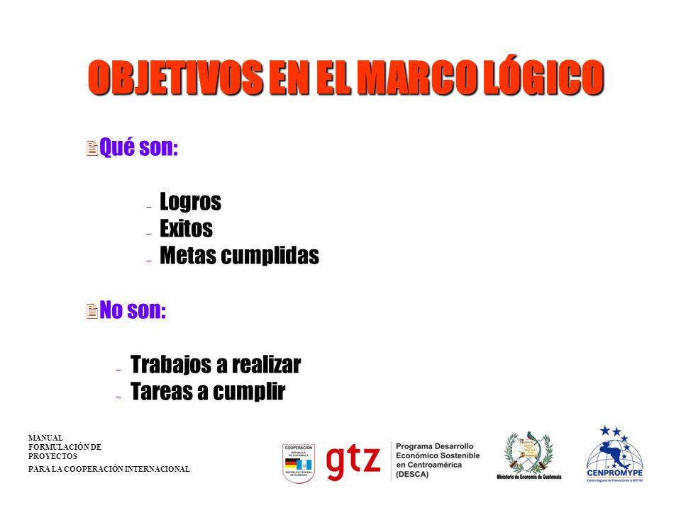 OBJETIVOS EN EL MARCO LÓGICO 2 Qué son: Logros Exitos Metas cumplidas 2 No son: Trabajos a realizar Tareas a cumplir MANUAL FORMULACIÓN DE PROYECTOS P