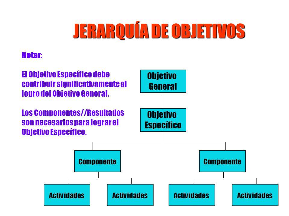 Notar: El Objetivo Específico debe contribuir significativamente al logro del Objetivo General. Los Componentes//Resultados son necesarios para lograr