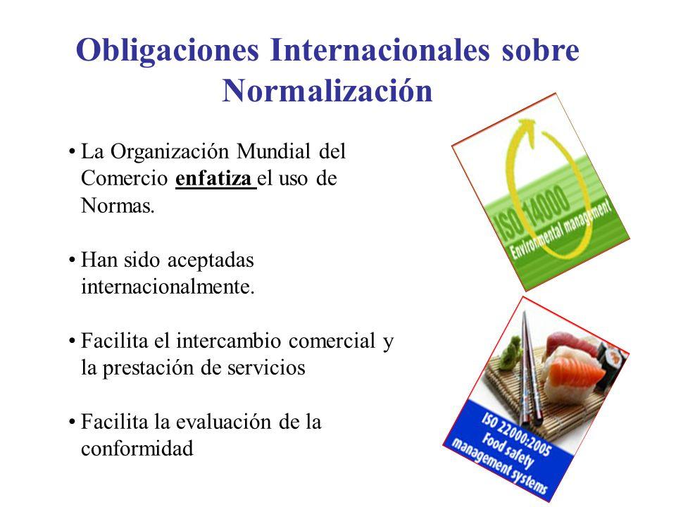 Obligaciones Internacionales sobre Normalización La Organización Mundial del Comercio enfatiza el uso de Normas. Han sido aceptadas internacionalmente