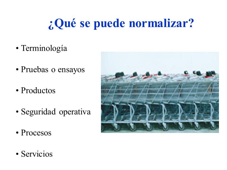¿Qué se puede normalizar? Terminología Pruebas o ensayos Productos Seguridad operativa Procesos Servicios