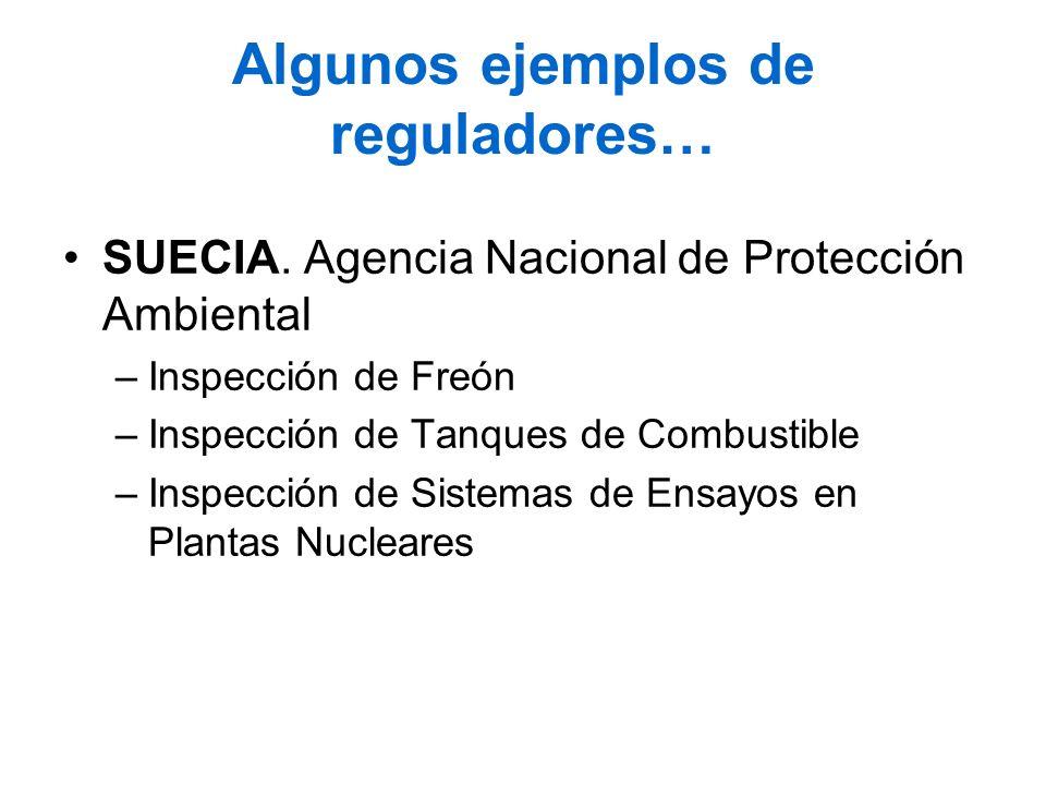 Algunos ejemplos de reguladores… SUECIA. Agencia Nacional de Protección Ambiental –Inspección de Freón –Inspección de Tanques de Combustible –Inspecci