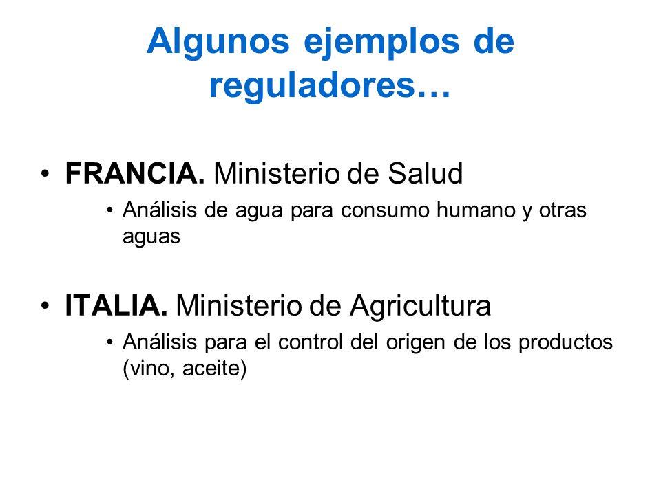 Algunos ejemplos de reguladores… FRANCIA. Ministerio de Salud Análisis de agua para consumo humano y otras aguas ITALIA. Ministerio de Agricultura Aná