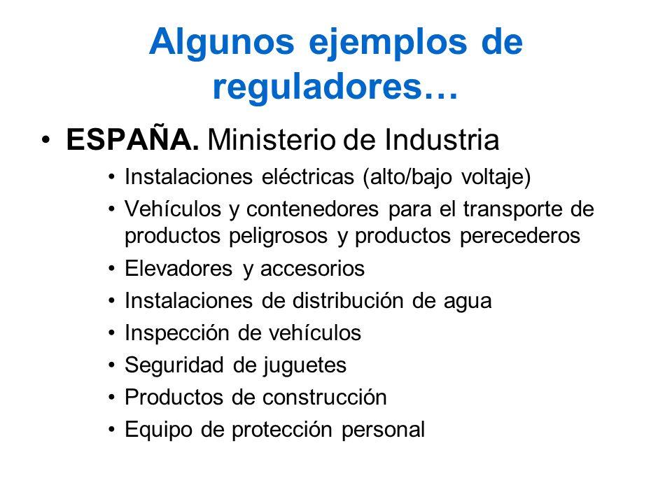 Algunos ejemplos de reguladores… ESPAÑA. Ministerio de Industria Instalaciones eléctricas (alto/bajo voltaje) Vehículos y contenedores para el transpo