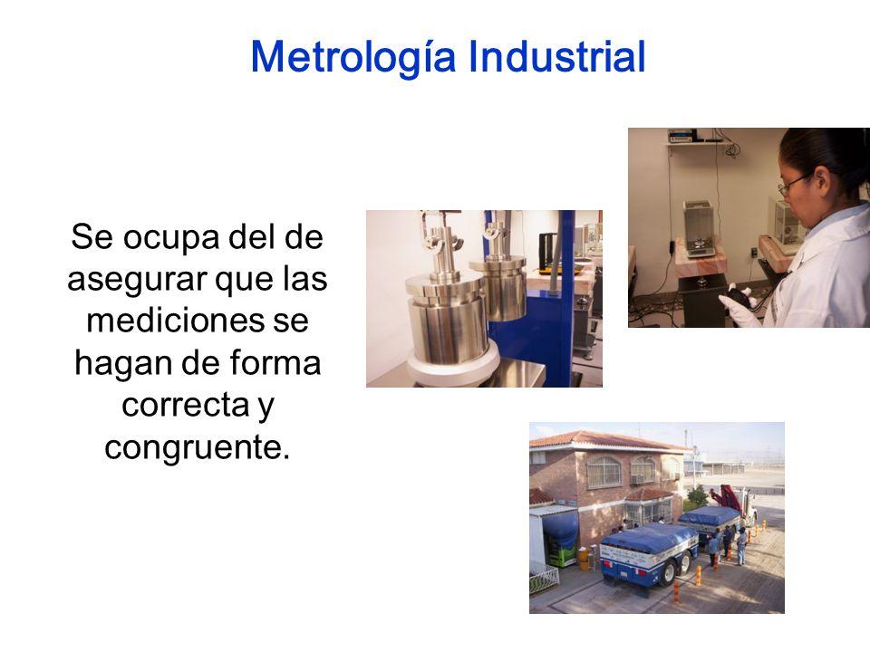 Se ocupa del de asegurar que las mediciones se hagan de forma correcta y congruente. Metrología Industrial
