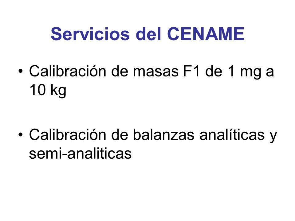 Servicios del CENAME Calibración de masas F1 de 1 mg a 10 kg Calibración de balanzas analíticas y semi-analiticas