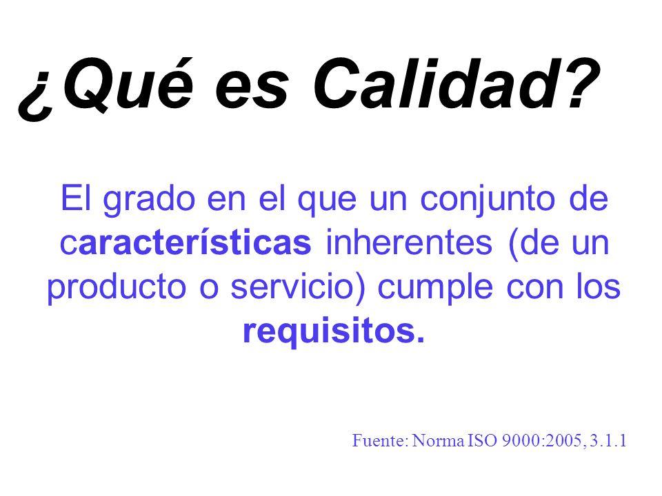 El grado en el que un conjunto de características inherentes (de un producto o servicio) cumple con los requisitos. Fuente: Norma ISO 9000:2005, 3.1.1