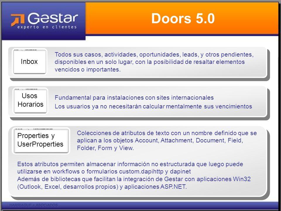 Doors 5.0 Todos sus casos, actividades, oportunidades, leads, y otros pendientes, disponibles en un solo lugar, con la posibilidad de resaltar elementos vencidos o importantes.