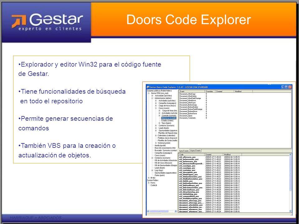 Doors Code Explorer Explorador y editor Win32 para el código fuente de Gestar.