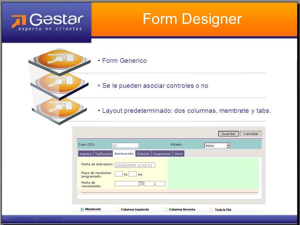 Form Designer Text in here Form Generico Se le pueden asociar controles o no Layout predeterminado: dos columnas, membrete y tabs.