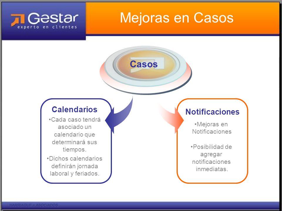 Mejoras en Casos Calendarios Cada caso tendrá asociado un calendario que determinará sus tiempos.
