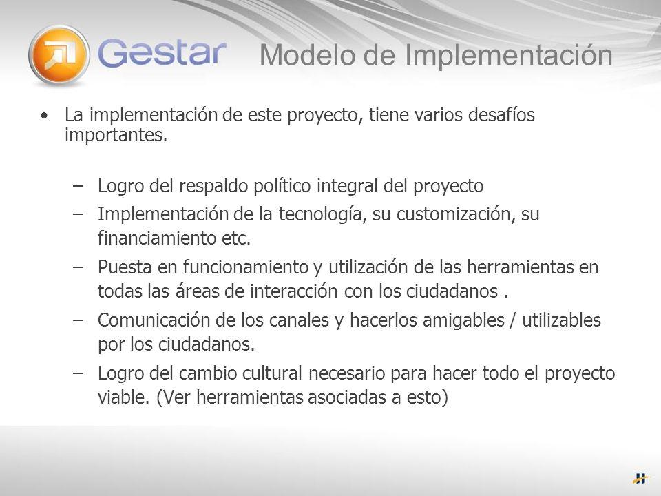 Modelo de Implementación La implementación de este proyecto, tiene varios desafíos importantes.