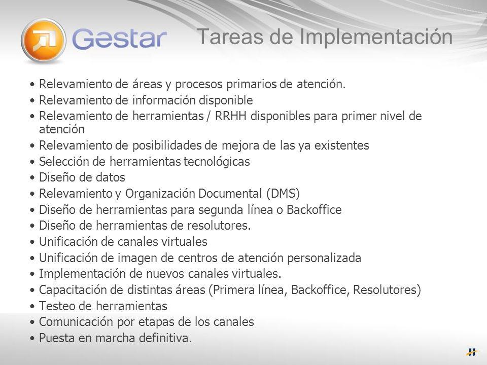 Tareas de Implementación Relevamiento de áreas y procesos primarios de atención.