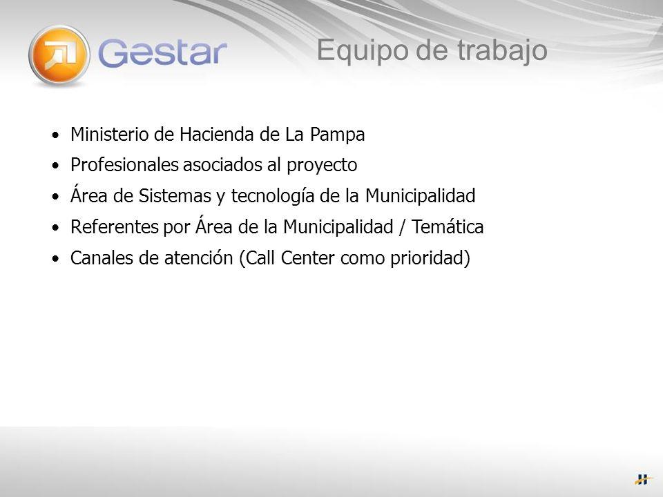 Ministerio de Hacienda de La Pampa Profesionales asociados al proyecto Área de Sistemas y tecnología de la Municipalidad Referentes por Área de la Municipalidad / Temática Canales de atención (Call Center como prioridad) Equipo de trabajo