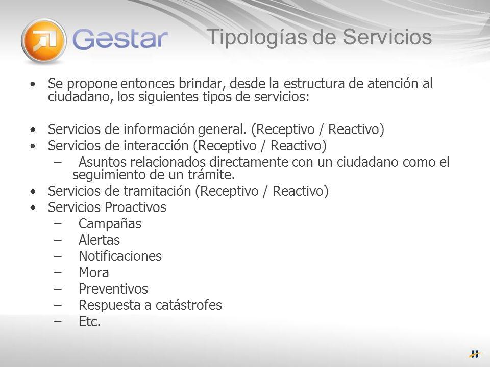 Tipologías de Servicios Se propone entonces brindar, desde la estructura de atención al ciudadano, los siguientes tipos de servicios: Servicios de información general.