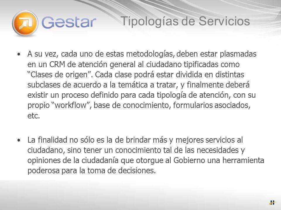 Tipologías de Servicios A su vez, cada uno de estas metodologías, deben estar plasmadas en un CRM de atención general al ciudadano tipificadas como Clases de origen.