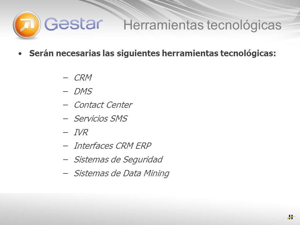 Herramientas tecnológicas Serán necesarias las siguientes herramientas tecnológicas: – CRM – DMS – Contact Center – Servicios SMS – IVR – Interfaces CRM ERP – Sistemas de Seguridad – Sistemas de Data Mining