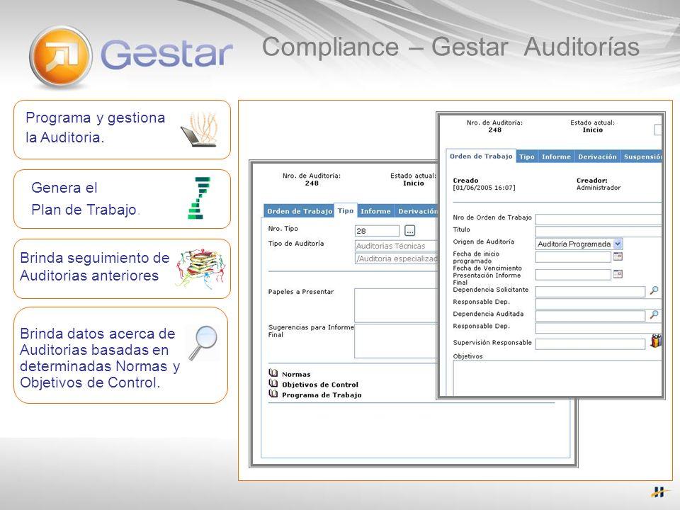 Programa y gestiona la Auditoria. Genera el Plan de Trabajo. Brinda seguimiento de Auditorias anteriores Brinda datos acerca de Auditorias basadas en