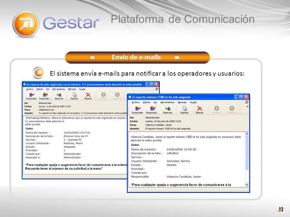 Plataforma de Comunicación Envío de e-mails El sistema envía e-mails para notificar a los operadores y usuarios: