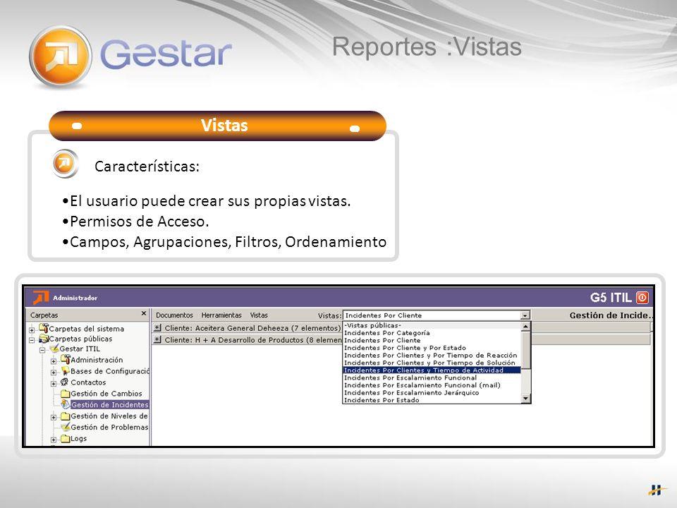 Reportes :Vistas Vistas El usuario puede crear sus propias vistas. Permisos de Acceso. Campos, Agrupaciones, Filtros, Ordenamiento Características: