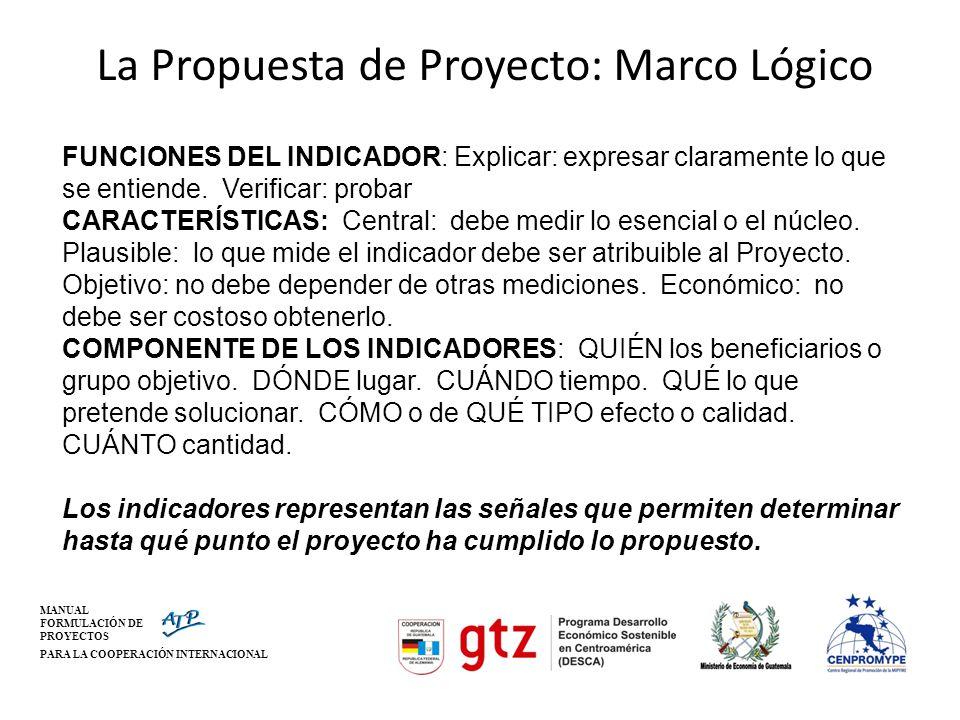 MANUAL FORMULACIÓN DE PROYECTOS PARA LA COOPERACIÓN INTERNACIONAL La Propuesta de Proyecto: Marco Lógico FUNCIONES DEL INDICADOR: Explicar: expresar c