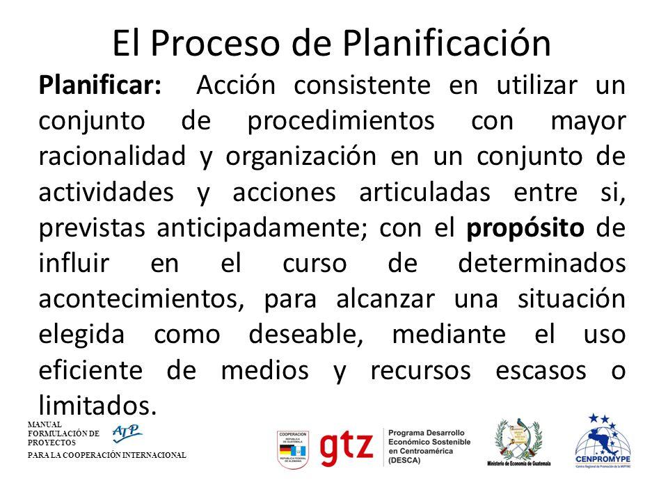 MANUAL FORMULACIÓN DE PROYECTOS PARA LA COOPERACIÓN INTERNACIONAL El Proceso de Planificación Planificar: Acción consistente en utilizar un conjunto d