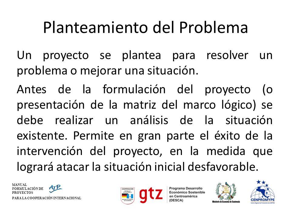 MANUAL FORMULACIÓN DE PROYECTOS PARA LA COOPERACIÓN INTERNACIONAL Planteamiento del Problema Un proyecto se plantea para resolver un problema o mejora