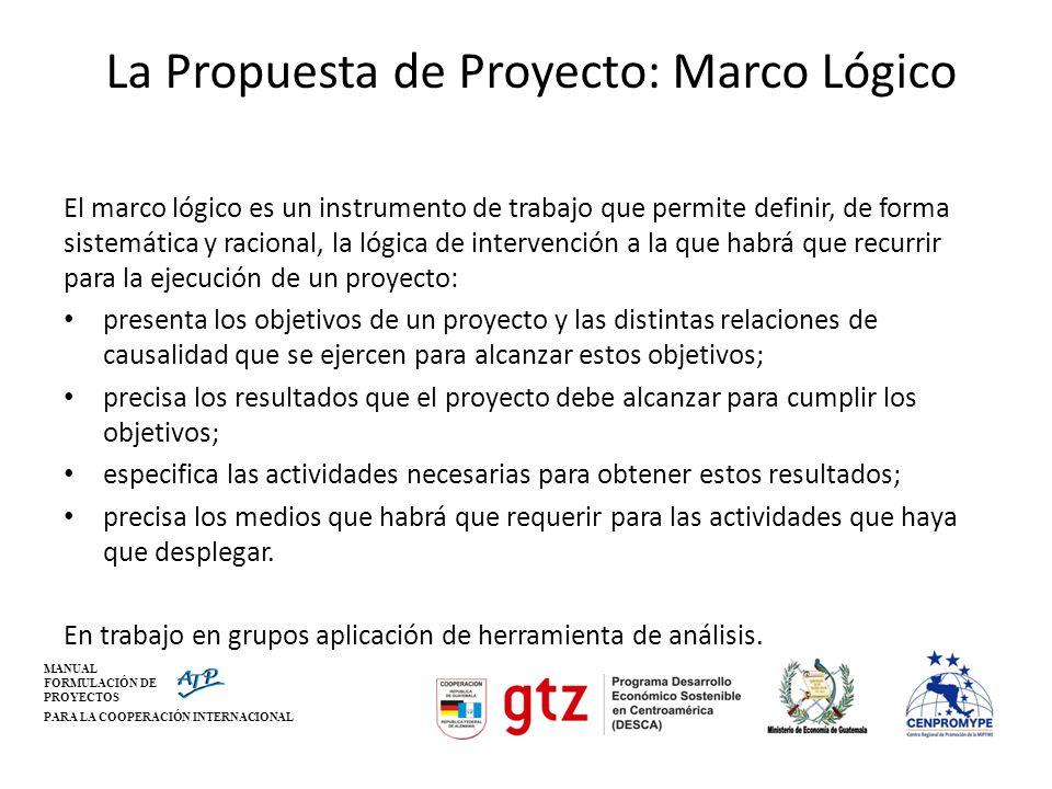 MANUAL FORMULACIÓN DE PROYECTOS PARA LA COOPERACIÓN INTERNACIONAL La Propuesta de Proyecto: Marco Lógico El marco lógico es un instrumento de trabajo