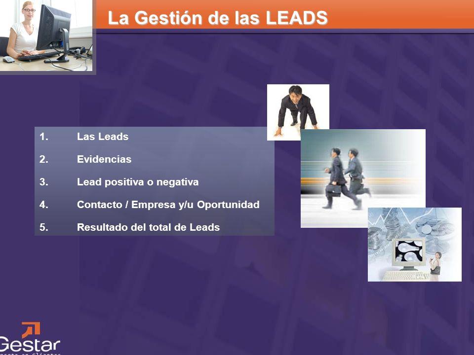 CRM La Gestión de las LEADS 1. Las Leads 2. Evidencias 3. Lead positiva o negativa 4. Contacto / Empresa y/u Oportunidad 5. Resultado del total de Lea