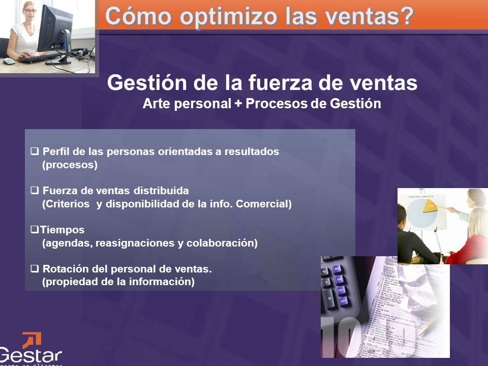 CRM Perfil de las personas orientadas a resultados (procesos) Fuerza de ventas distribuida (Criterios y disponibilidad de la info. Comercial) Tiempos