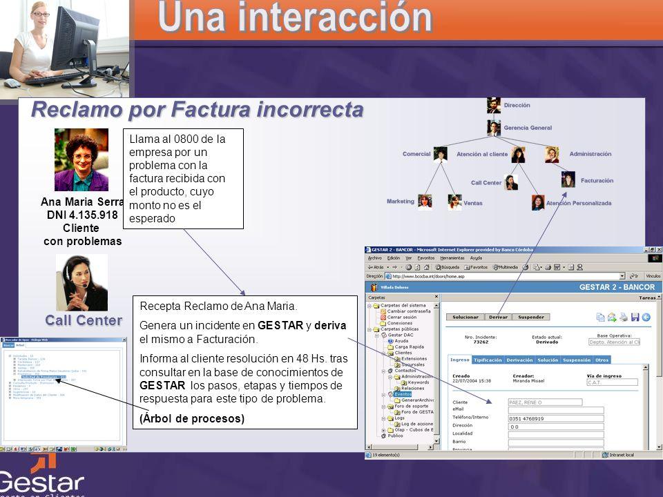 CRM Reclamo por Factura incorrecta Ana Maria Serra DNI 4.135.918 Cliente con problemas Llama al 0800 de la empresa por un problema con la factura reci