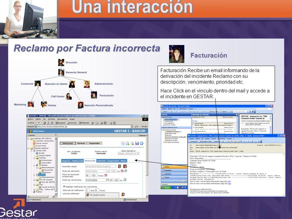 CRM Facturación Reclamo por Factura incorrecta Facturación Recibe un email informando de la derivación del incidente Reclamo con su descripción, venci