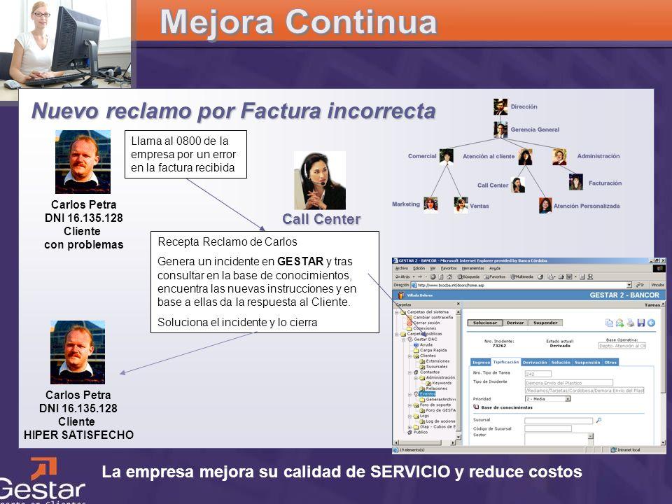 CRM La empresa mejora su calidad de SERVICIO y reduce costos Nuevo reclamo por Factura incorrecta Carlos Petra DNI 16.135.128 Cliente con problemas Ll