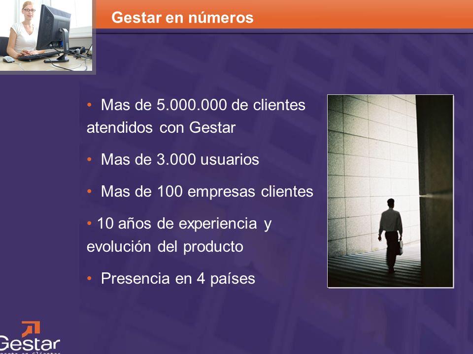 CRM Mas de 5.000.000 de clientes atendidos con Gestar Mas de 3.000 usuarios Mas de 100 empresas clientes 10 años de experiencia y evolución del produc