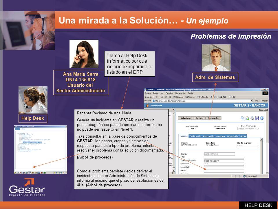 Problemas de impresión Ana Maria Serra DNI 4.135.918 Usuario del Sector Administración Llama al Help Desk informático por que no puede imprimir un lis