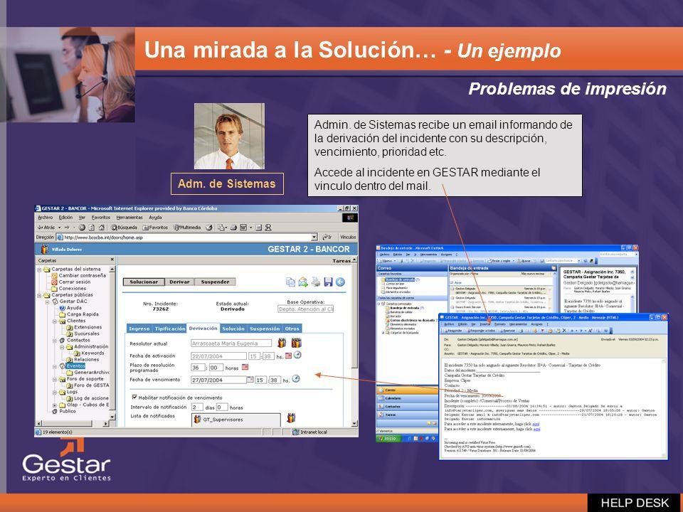 Problemas de impresión Adm. de Sistemas Admin. de Sistemas recibe un email informando de la derivación del incidente con su descripción, vencimiento,