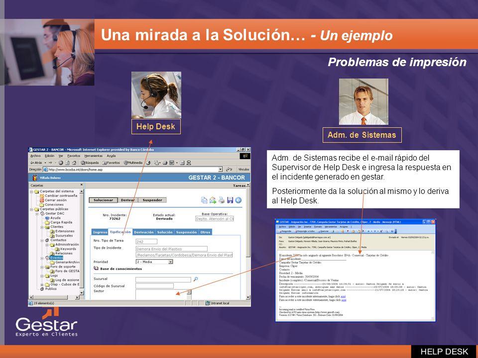 Adm. de Sistemas recibe el e-mail rápido del Supervisor de Help Desk e ingresa la respuesta en el incidente generado en gestar. Posteriormente da la s