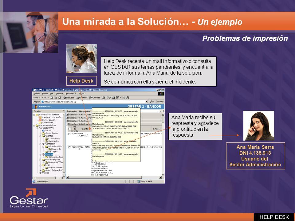 Ana Maria recibe su respuesta y agradece la prontitud en la respuesta Help Desk recepta un mail informativo o consulta en GESTAR sus temas pendientes,
