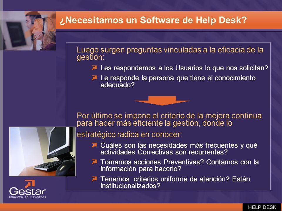 ¿Necesitamos un Software de Help Desk? Luego surgen preguntas vinculadas a la eficacia de la gestión: Les respondemos a los Usuarios lo que nos solici