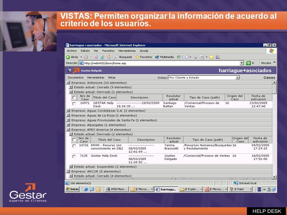 VISTAS: Permiten organizar la información de acuerdo al criterio de los usuarios.