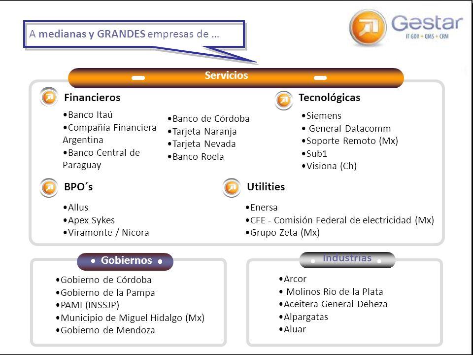 Servicios Gobiernos Industrias Financieros BPO´s Tecnológicas Utilities Banco Itaú Compañía Financiera Argentina Banco Central de Paraguay Allus Apex