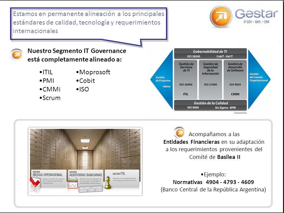ITIL PMI CMMi Scrum Moprosoft Cobit ISO Estamos en permanente alineación a los principales estándares de calidad, tecnología y requerimientos internac