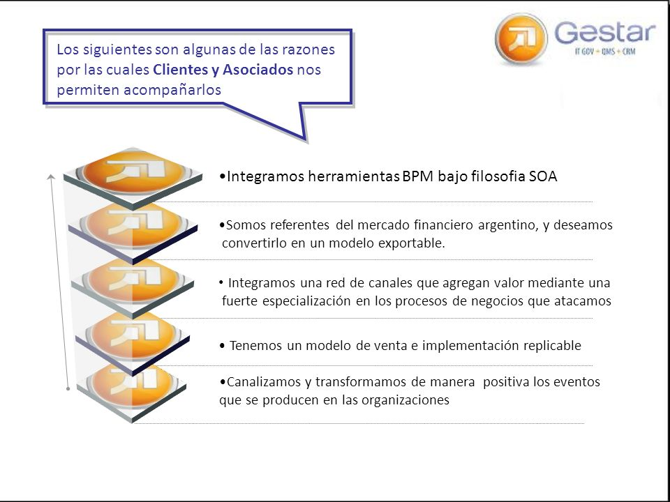 Integramos herramientas BPM bajo filosofia SOA Somos referentes del mercado financiero argentino, y deseamos convertirlo en un modelo exportable. Inte