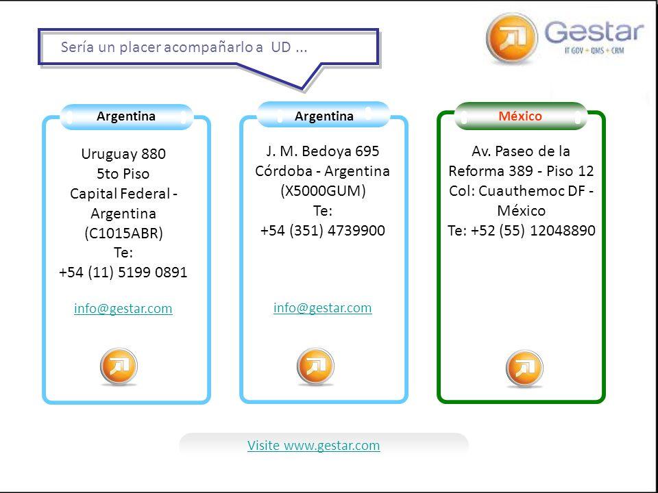 Argentina Uruguay 880 5to Piso Capital Federal - Argentina (C1015ABR) Te: +54 (11) 5199 0891 info@gestar.com J. M. Bedoya 695 Córdoba - Argentina (X50