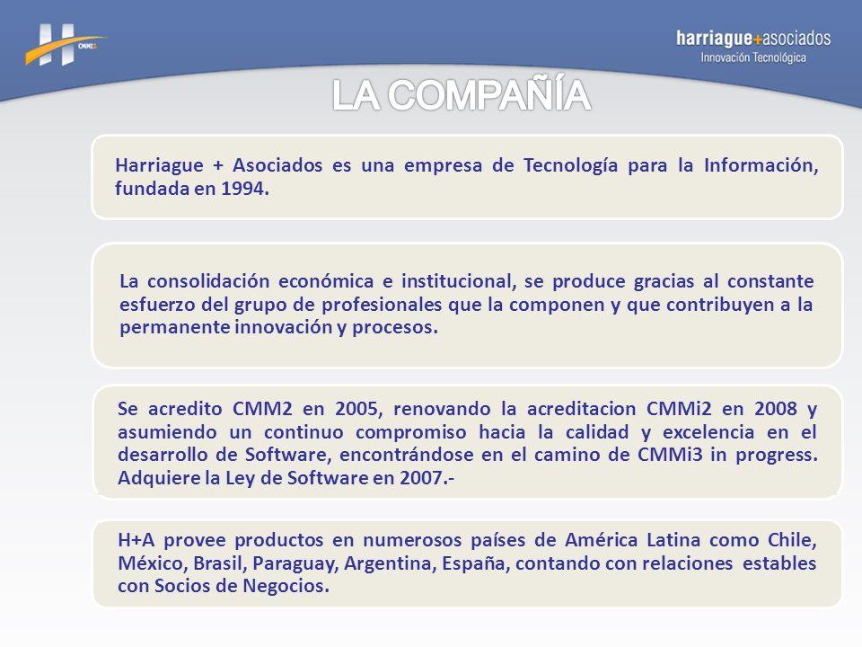 Harriague + Asociados es una empresa de Tecnología para la Información, fundada en 1994. La consolidación económica e institucional, se produce gracia